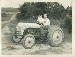 1957 Press Photo Albert Sims And Dog Vintage Ford Tractor York Co South Carolina