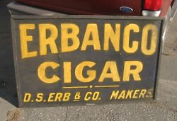 OLD 2 SIDED WOODEN CASTLE HALL ERBANCO CIGAR TOBACCO SIGN STORE DISPLAY