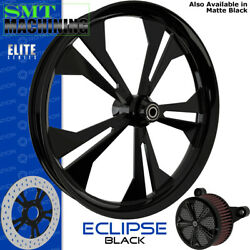 Smt Machining Eclipse Gloss Black Front Wheel Harley Touring Bagger 21