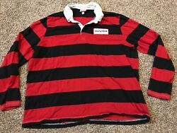 Hunter Boots Brand Mens XXL Long Sleeve Striped Polo Shirt A17