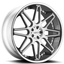 4 24 Staggered Azad Wheels Az77 Brushed Face With Chrome Ss Lip Rimsb31