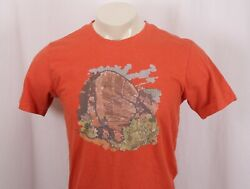 PRANA Orange Rock Climbing Bouldering Design Print T-Shirt Tee -Men's Medium