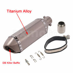 1.5-2inch Titanium Alloy Exhaust Muffler Pipe For Motorcycle Street Bike 14.6in