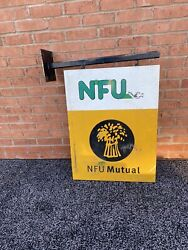 Vintage Nfu Mutual Sign -nfu Mutual Shop Sign Double Sided -with Hanging Bracket