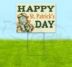 Happy St. Patrick's Day 18x24 Yard Sign With Stake Corrugated Bandit Usa Holiday