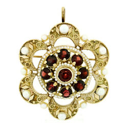 Vintage 14k Yellow Gold 2.25ctw Garnet Pearl Crescent Cluster Brooch Pin Pendant
