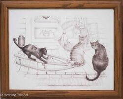 Original Ink Drawing Of Christmas Farm Scene With Cats And Old Sled, Signed 6