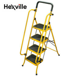 Portable 4 Step Ladder Folding Non Slip Safety Tread Heavy Duty Industrial Home