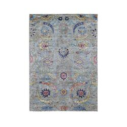 4'2x6' Hand Knotted Sickle Leaf Design Silk With Textured Wool Rug G48905