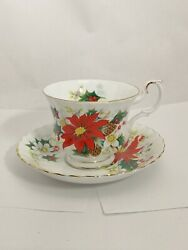 Royal Albert Bone China England Yuletide Cup And Saucer Set W/ Poinsettia Design