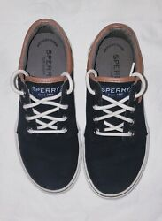 Childs Sperrys Top Siders Ollies Black W/brown Trim Size 1.5m