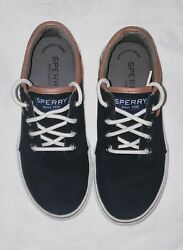 Childs Sperrys Top Siders Ollies Black W/brown Trim Size 2m