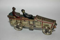 Antique German Fischer Meier Penny Toy Two Seat Open Tourer Limo Tin Litho Toy