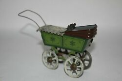 Antique German Fischer Meier Penny Toy Baby Pram Carriage Tin Litho Toy