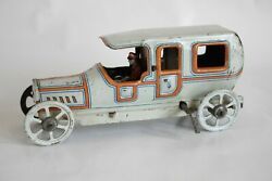 Antique Germany Fischer Limousine Auto Car Tin Litho Toy Penny Toy Wind Up