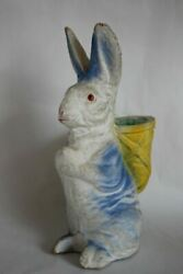 Antique Papier Mache Easter Bunny Candy Container Large 11