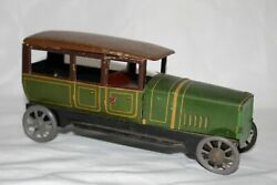 Antique Germany Distler Limousine Taxi Car Wind Up Tin Litho Toy