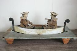 Antique Wooden Childs Oars Row Boat Hand Painted Pull Toy German