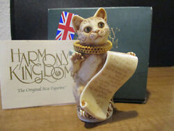 Harmony Kingdom Poet's Party Cat With Scroll Uk Made Box Figurine Sgn