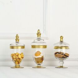 3 Pcs Clear Gold Trim Glass Apothecary Jars Containers With Lids Wedding Favors