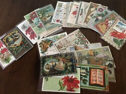 Lot of 25 Vintage 1900's CHRISTMAS Postcards Antique Xmas in Sleeves Free Ship