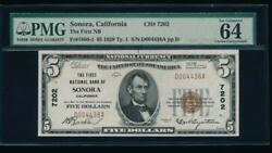 Ac 1929 5 First National Bank Of Sonora, California Ch 7202 Pmg 64 Epq