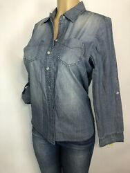 Chicos Denim Look Cotton Shirt Womens Size 0 S Casual Long Roll Sleeve Blouse