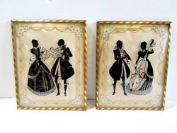 Pair Set Pictures Antique Silhouette Musicians With Sheet Music Violin Woodwind