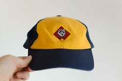 Boy Scout Wolf Cub Hat Bsa Youth Adjustable Small Medium Blue And Yellow Cap