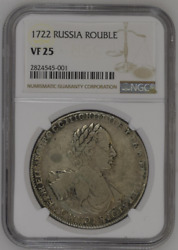 1 Rouble Silver Russia 1722 Peter The Great Ngc Vf-25 Rrr Key Date