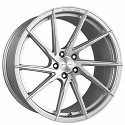 4 19/20 Staggered Stance Wheels Sf01 Brush Face Silver Rims B1