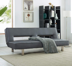 Futon Sleeper Sofa Bed Couch Dorm Reclining Daybed Gray Leather Modern Padded