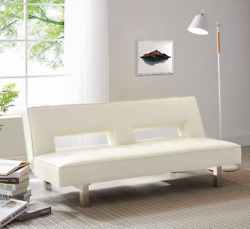 Futon Sleeper Sofa Bed Couch Dorm Reclining Daybed Cream Leather Modern Padded