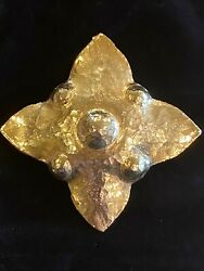 Very Rare And Large Vintage Jeanne Lanvin Gold Plated Hammered Brooch