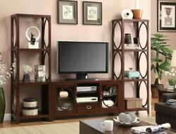 3 Pc Melville Cherry Finish Wood Entertainment Center Wall Unit - Free Shipping