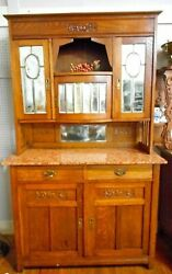 Antique Arts And Crafts Mission Oak Marble Top Buffet Sideboard 80 Tall