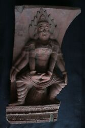 Collectible Wooden Carving Panel Figures Rare Find Murti Religious Indian 1900s