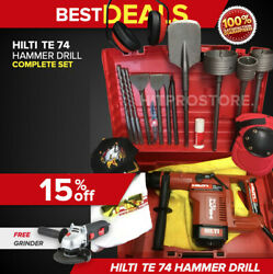 Hilti Te 74 Hammer Drill, Display, Free Angle Grinder, Bits And Extras, Fast Ship