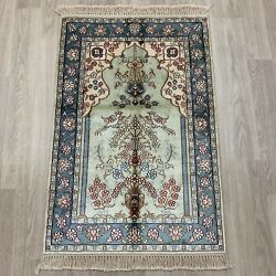 Yilong 2and039x3and039 Handknotted Silk Carpet Family Room Traditional Rug Wy405m