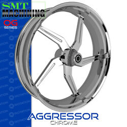Smt Machining Aggressor Chrome Front Wheel Harley Touring Bagger 21