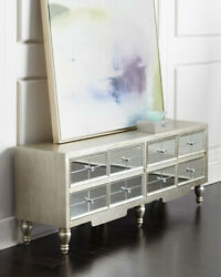 Mara Four Door Two Shelf Mirrored Entertainment Console Horchow Neiman Marcus