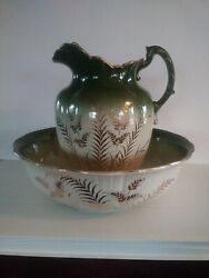 Large Antique Gold Gilded Green Wheat Pitcher And Basin 3211