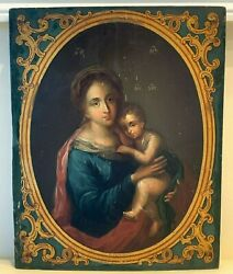Antique Gesso And Wood Icon Hand Painted Madonna Mary Mother Of God Jesus Christ
