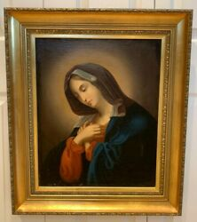 Antique Old Master Madonna Portrait Religious Oil On Canvas Painting