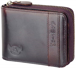 Mens Genuine Leather Bifold Zip-around Wallet with Elegant Gift High quality $23.49