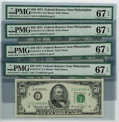Fr. 2118-c 50 1974 Federal Reserve Note 4 Consecutive Dc-2588 67 Epq Pmg