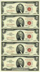 Fr. 1514 2 1963 Two Dollar Legal Tender United States Notes 5 Notes Ch Cu