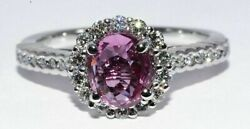 5800 1.93ct Certified Natural No Heat Purple-pink Sapphire Engagement Ring 18k