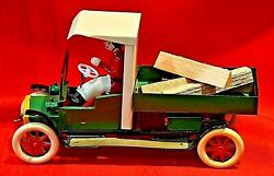 Tucher And Walther Tin Toy Lumber Truck, Lever, Clockwork Drive, Lumber Truck New