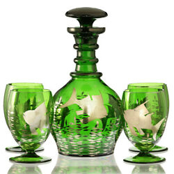 C.1950s Retro Emerald Glass Decanter And Four Glasses With Fish Decoration